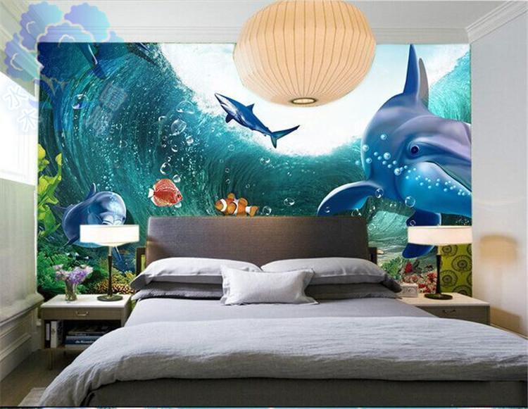 3D Meereswellen Delfin-Hai 95 Tapete Wandgemälde Tapete Tapeten Bild Familie DE
