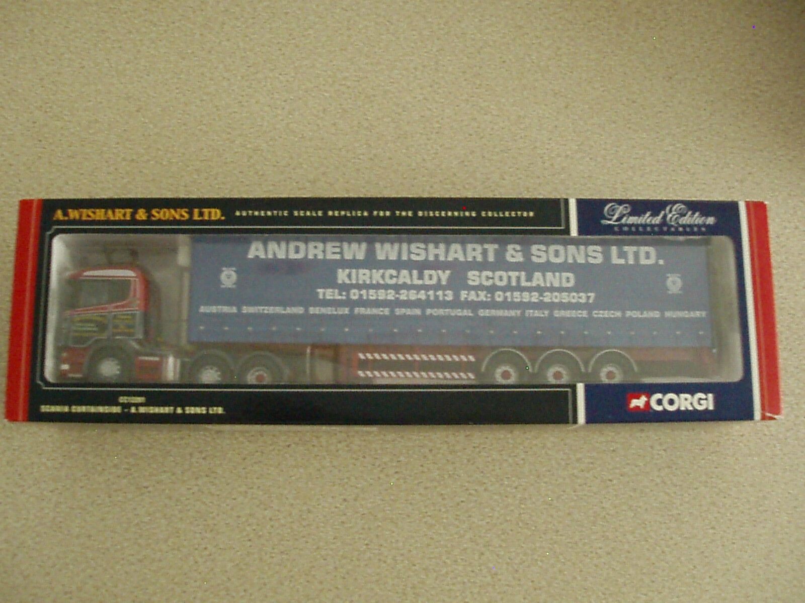Corgi 1 50 Ltd Edn CC12201 Scania Curtainside A. Wishart & Sons Ltd Unused