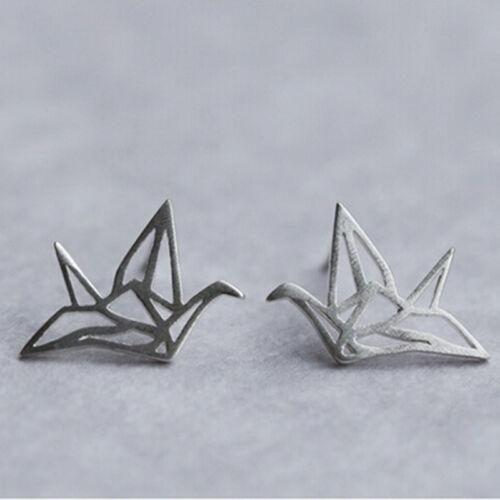 Charm Origami Crane Stud Earrings Cute Hollowed Ear Studs Chic Birds EarringsTFS