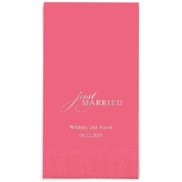 80 Just Married Printed Rectangular Fold Wedding Dinner Napkins