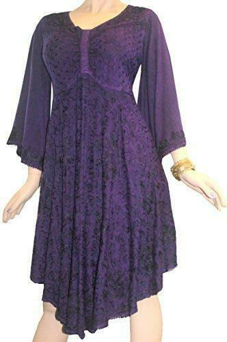 117 117 117 DR Butterfly Embroidered Bell Sleeve Flare Knee Length Dress e3ca9b