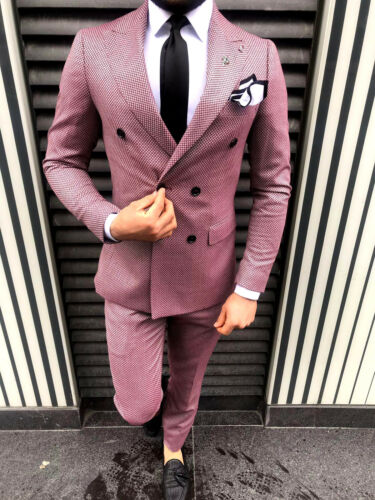 Kariert Weiss Tailliert Designer Rot Business Slim Herrenanzug Doppelreiher Fit OPOqw