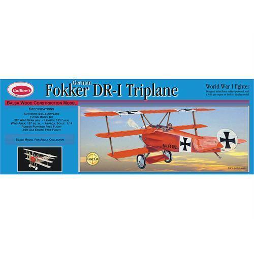 Guillow's Fokker DR-1 Tri-Plane Balsa Kit (G204) + Free Postage