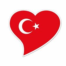 "Turkey Flag Heart car window bumper sticker decal 5"" x 3"""
