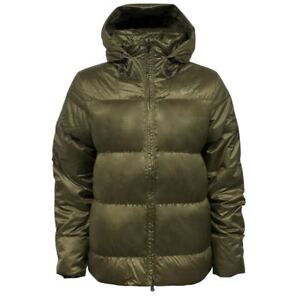 614620d0e43a Nike Zip Up Khaki Puffer Quilted Goose Down Hooded Womens Jacket ...