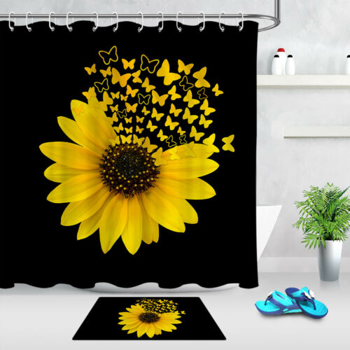 Creative Sunflower Butterfly Black Background Shower Curtain Set Bathroom Decor