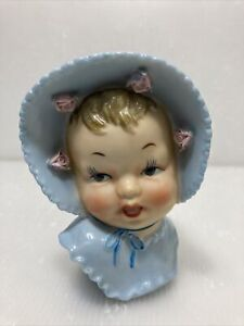 VTG Artmark Japan Ceramic Baby With Bonnet Head Vase Wall Pocket