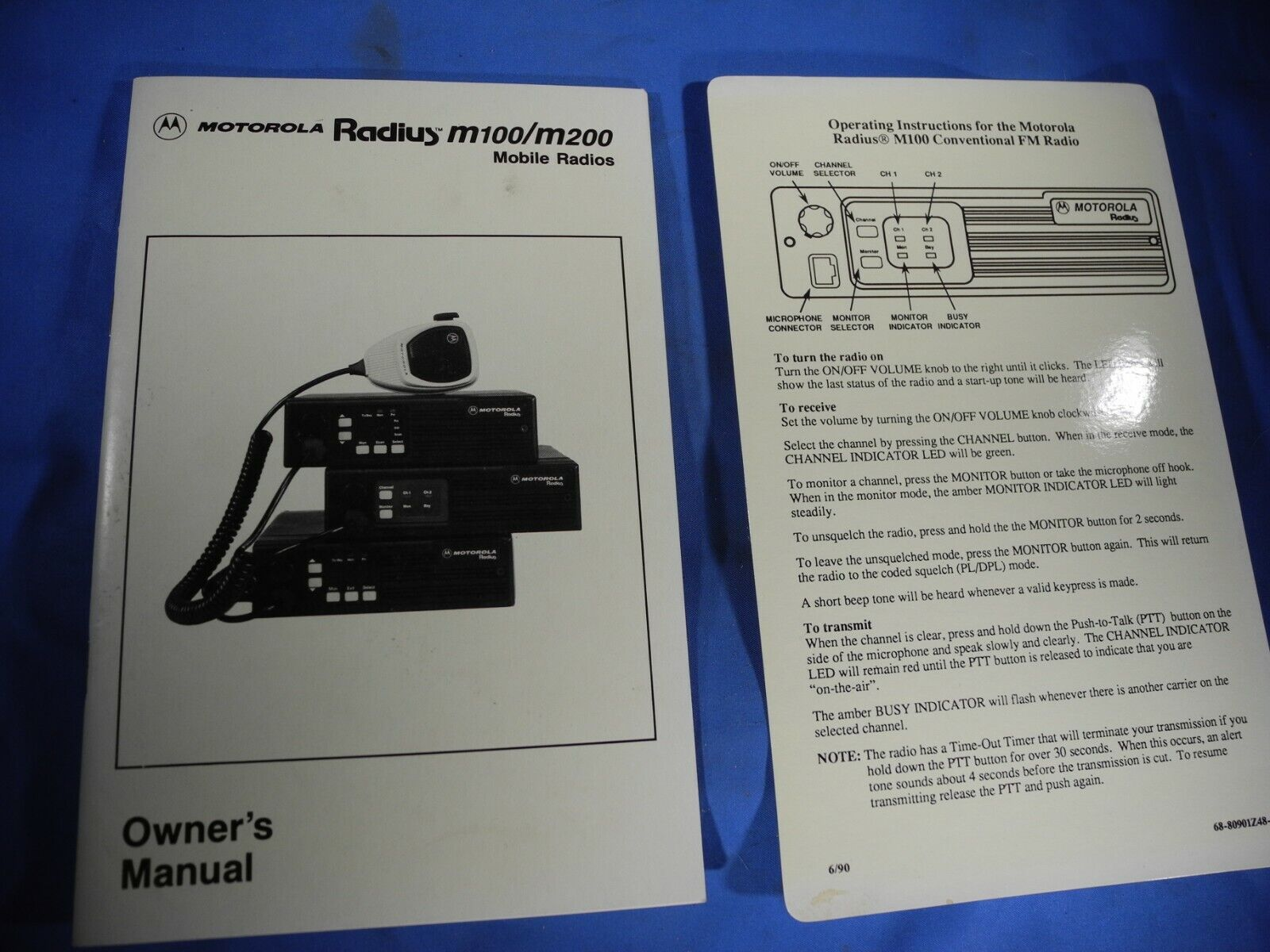Owner's Manual Motorola Radius m100/m200 Mobile Radios W/ Card. Available Now for 19.99