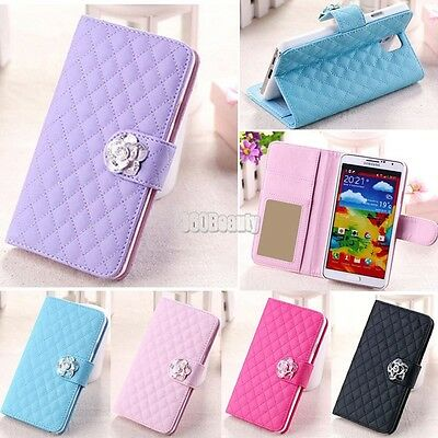 Fashion Luxury Grid Wallet Stand Flip PU Leather Cover Case for Sumsung