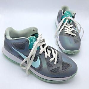 d27278f8d9e2 Nike Lebron IX 9 Low Easter Gray Mint 510811-001 Basketball Shoe SZ ...