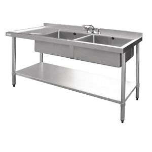 Restaurant Kitchen Sink vogue double sink with deep drainer stainless steel restaurant