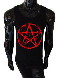 Kids Pentagram T-Shirt goth rock punk metal gothic biker satanic childrens red