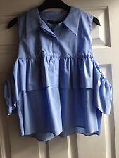 ZARA Blue Frilled Poplin Shirt Top Blouse Size L UK 10-12 BNWT