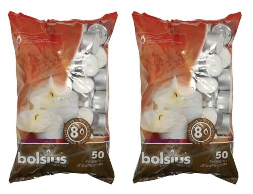 Bolsius 8 Hour Tealights 8 Hour Burn Time White Candles Pack of 50 Various Pack