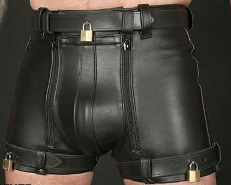 Mister b color contrast all around zipper latex fetish shorts for men