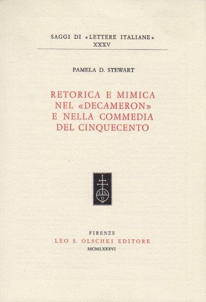 Pamela D. Stewart Retorica e mimica nel decamerone e commedia del cinquecento