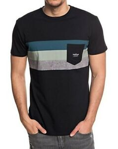 fe80249b96f6e Image is loading QUIKSILVER-MENS-T-SHIRT-PEACEFUL-PROGRESSION-BLACK-STRIPED-
