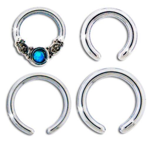 """16g//14g 1//4/"""" /& 5//16/"""" PETITE Captive Hoop Sim Opal Cartilage Ear Piercing Pack"""
