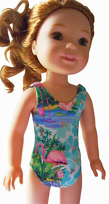 """Pink Flamingo Swimsuit for 14.5/"""" Wellie Wishers Doll Clothes HANDMADE"""