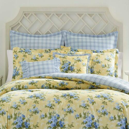 New 100/% cotton Country Garden Yellow Blue Floral 7 pcs King Queen Comforter Set