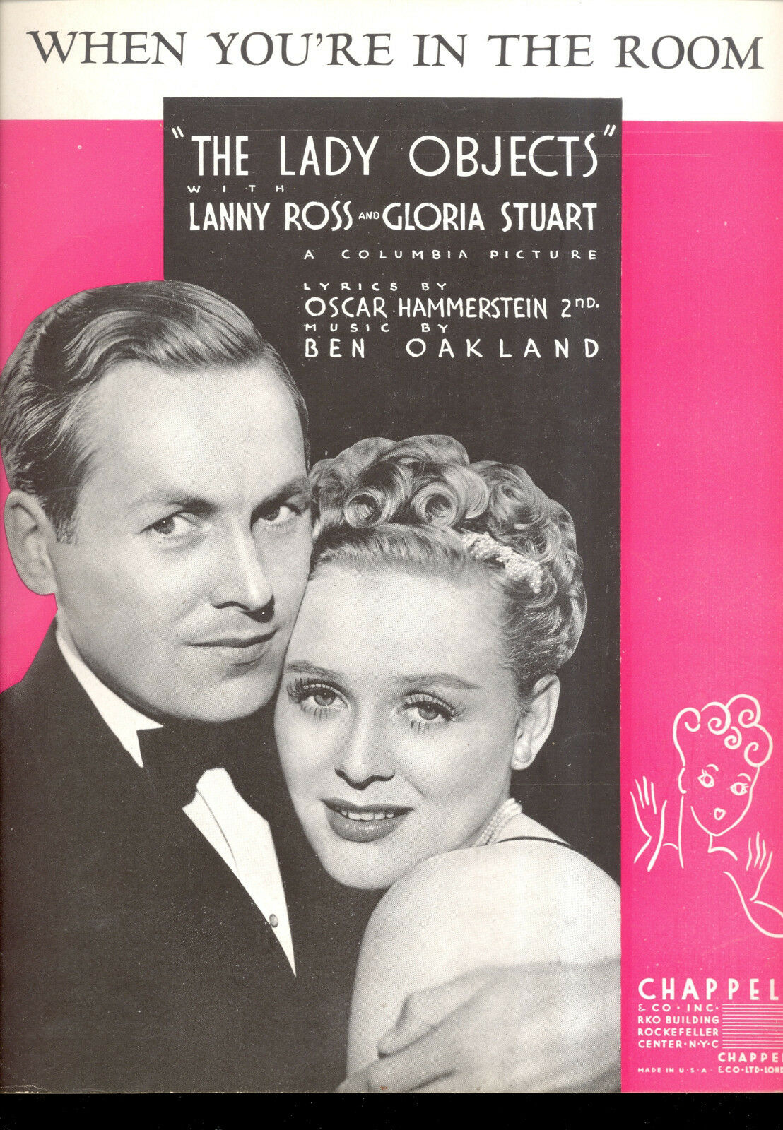 THE LADY OBJECTS Sheet Music  When You're In The Room  Gloria Stuart Lanny Ross