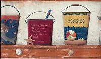 Seaside- Sand Pails On Shelf Wallpaper Border