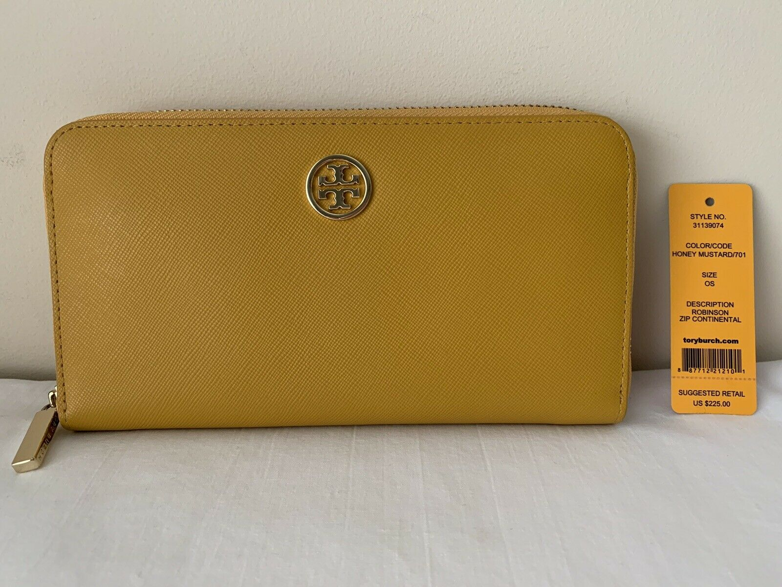 NWT 100% Auth Saffiano Tory Burch Robinson Zip Around Wallet, Honey Mustard/Gold