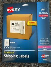 Avery Shipping 6445 Labels 8165 5165 Inkjet Laser 8 12 X 11 Full Sheet Pk 25