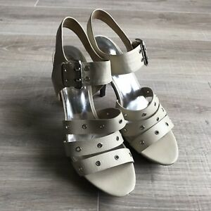 Michael-Kors-Womens-Cream-Leather-Strap-Platform-Sandals-Shoes-Heels-Size-9-5