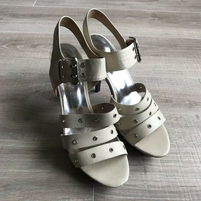 Michael Kors Womens Cream Leather Strap Platform Sandals Shoes Heels Size 9.5