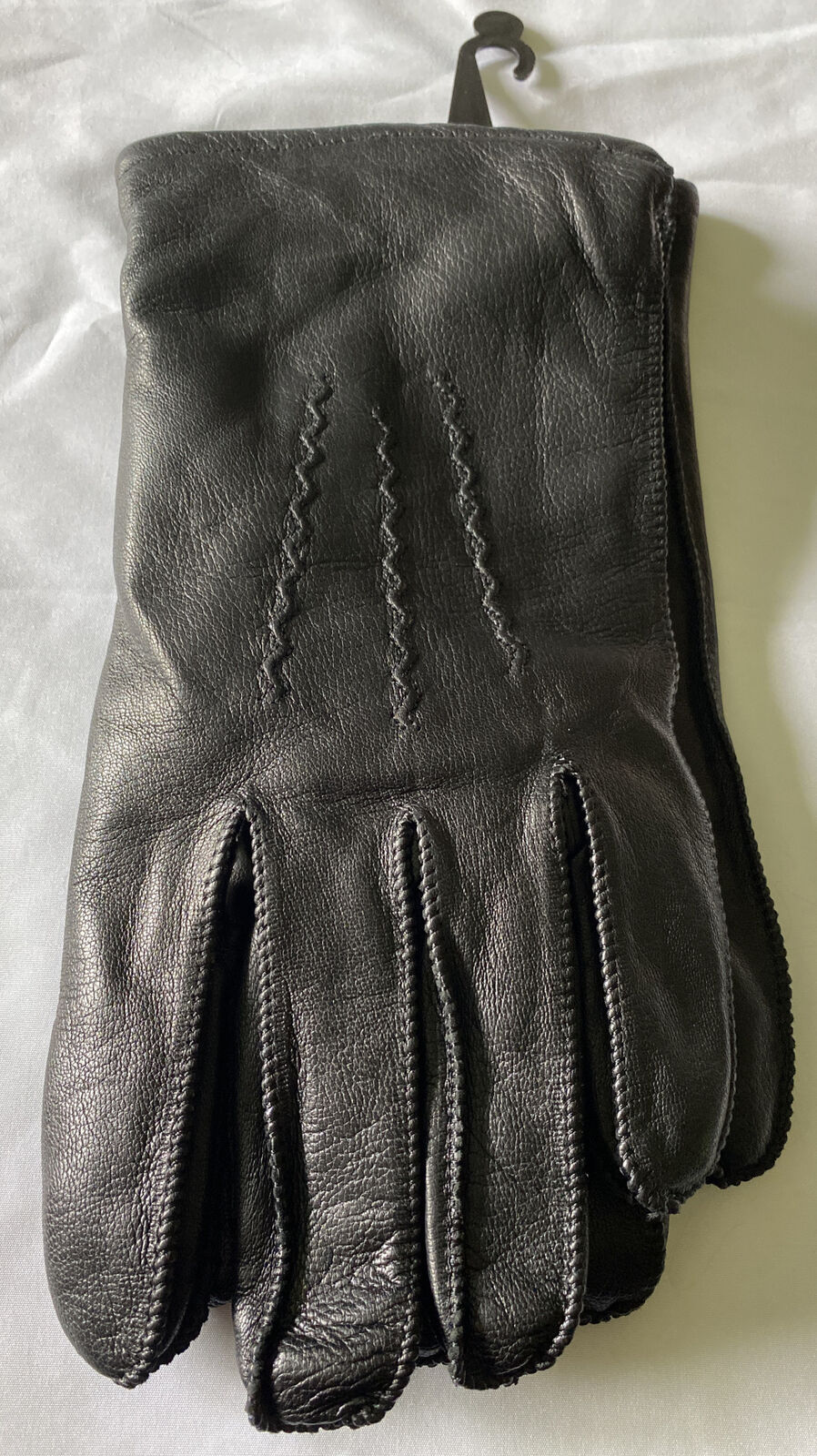 Mens Fownes Leather Gloves Black Size Large Wool Blend Lined 1843 NEW