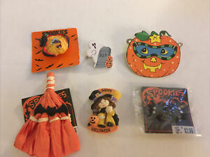 Mixed-Lot-Of-Halloween-5-Brooch-s-Pins-amp-1-Pair-BAT-Earrings-Pierced-VTG-VG