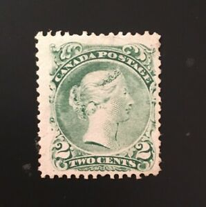 Stamps Canada SC24  2 cents green Mint Large Queen of 1868, see details.