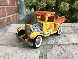 ANTIQUE-OLD-VINTAGE-BUDDY-L-FORD-MODEL-A-PICKUP-Yellow-HOT-ROD-RAT-DUMP-BED