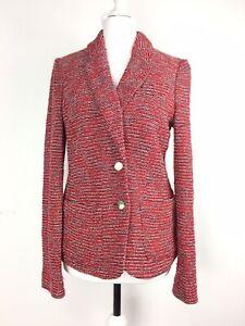 ARMANI-JEANS-Red-Tweed-Boucle-Blazer-Jacket-EU40-UK10-12