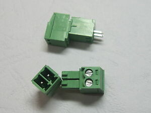 40 pcs 2pin//way Pitch 3.5mm Screw Terminal Block Connector Green Color Pluggable Type with straight-pin