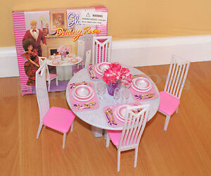 barbie dining room set | NEW GLORIA DOLLHOUSE FURNITURE 4-Chairs ROUND TABLE DINING ...