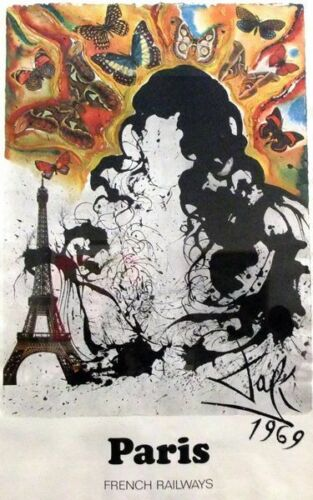 Vintage Dali French Railways Paris Poster  A3 Print