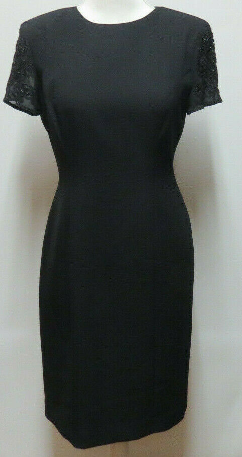 damenMorgan Fitted schwarz Cocktail Dress Beaded Sleeves Coverot Buttons Größe 4VTG