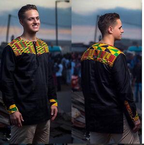 5ee65094a00 Kente   Black Cotton Men s Long Sleeve Shirt Men s African Clothing ...