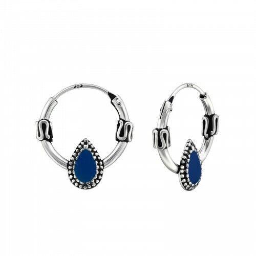 925 Sterling Silver 12mm Blue Teardrop Bali Hoop Sleeper Earrings Boxed
