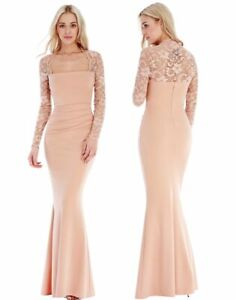 Goddess-Long-Lace-Sleeve-Evening-Maxi-Fishtail-Dress-Prom-Party-Bridesmaid-Ball