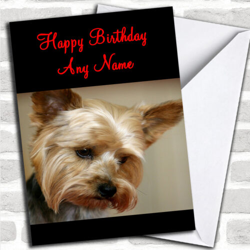 Cute Yorkshire Terrier Personalised Birthday Card