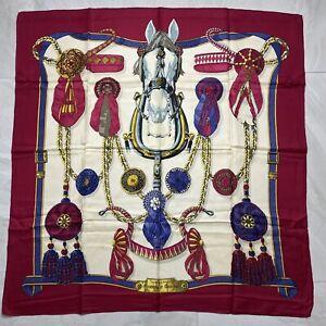 VINTAGE-HERMES-Horse-100-Silk-Scarf-Frontaux-et-Cocardes-90cm-35-034-square