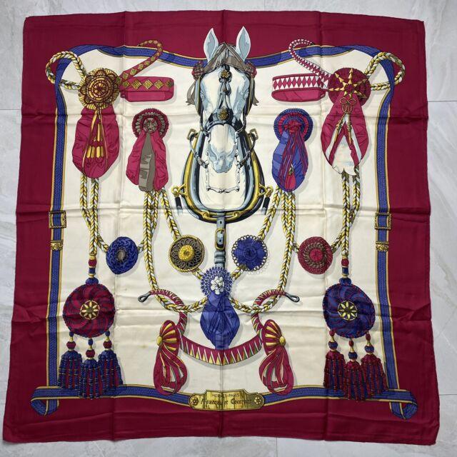 VINTAGE HERMES Horse 100% Silk Scarf  Frontaux et Cocardes 90cm, 35