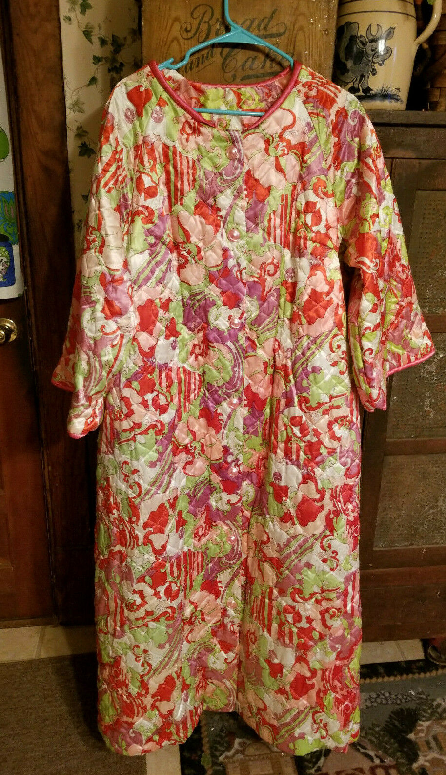 True Vintage MODE O DAY Long and Bright Robe Lounging Gown - Funky Fun