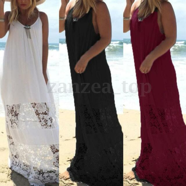 Zanzea Women Plus Size Backless Strappy Lace Crochet  Long Maxi Dress Sundress