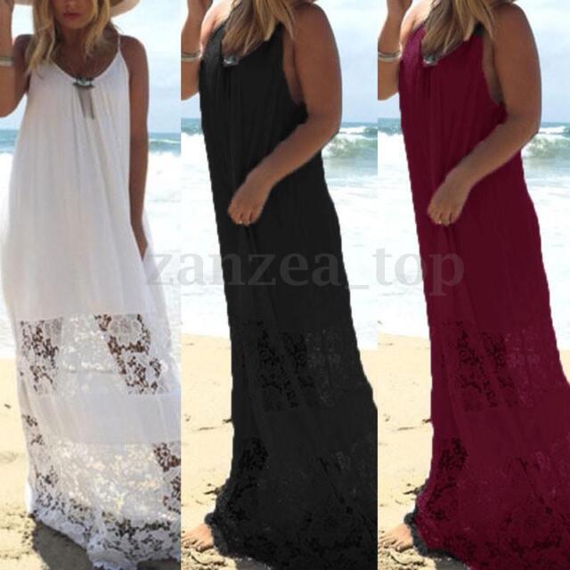 Zanzea Women Plus Size Backless Strappy Lace Crochet  Long Maxi Dress Sundress