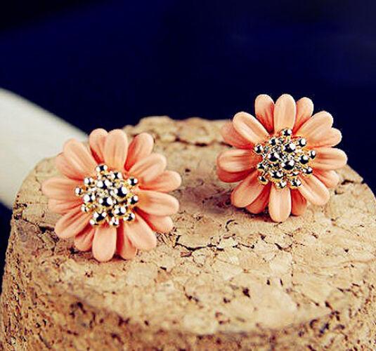 New Fashion 1 Pair Women Lady Elegant daisy flower Cute Ear Stud Earrings E203