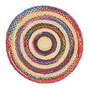 Redondo-Yute-Multicolor-Beige-Trenzado-Raya-Alfombra-Salon-90cm-120cm-150cm